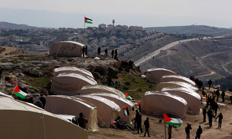 The tent village in Bab el Sham, near Jerusalem. Photograph: Baz Ratner/Reuters (Guardian)