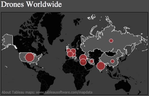 Drone owenership worldwide.          Source: The Guardian using date from IISS