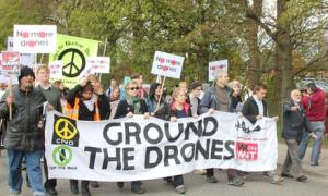 Protesting drones at RAF Waddington Source: the Guardian