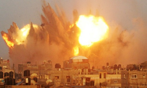 Airstrike in Rafah, Southern Gaza yesterday. Photograph: Said Khatib/AFP/Getty Images